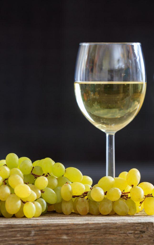 White wine in wineglass