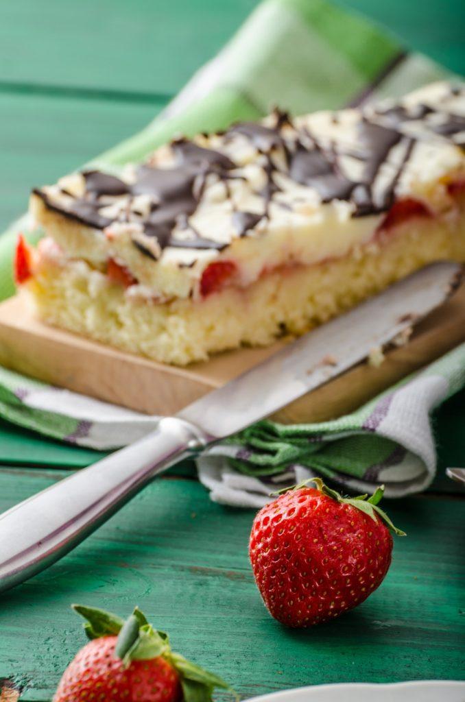 Mom's dessert with fresh strawberries